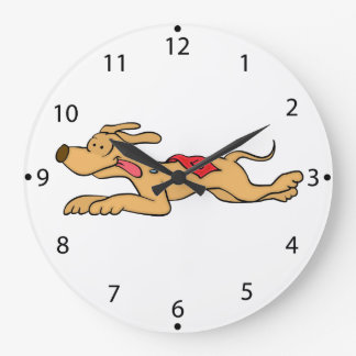 Cartoon greyhound dog racing large clock