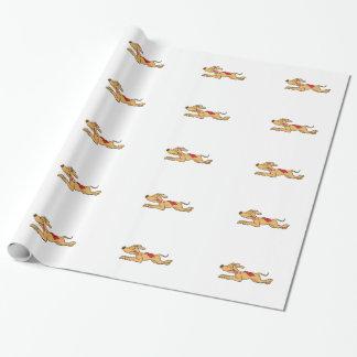 Cartoon greyhound dog racing wrapping paper