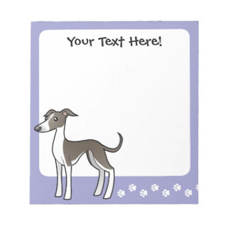 Cartoon Greyhound / Whippet / Italian Greyhound Notepad
