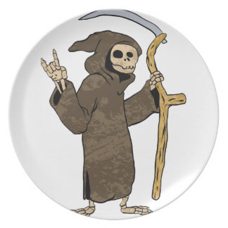cartoon grim reaper. party plate