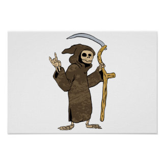 cartoon grim reaper. poster