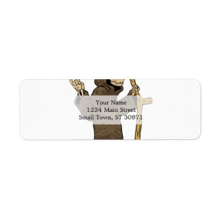 cartoon grim reaper. return address label