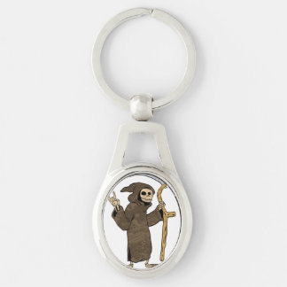 cartoon grim reaper. Silver-Colored oval keychain