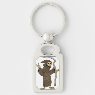 cartoon grim reaper. Silver-Colored rectangle keychain