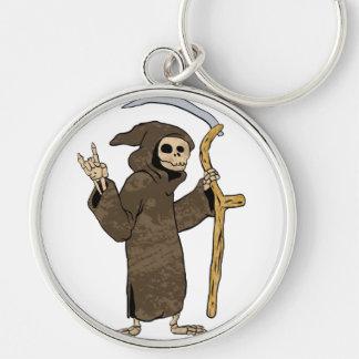 cartoon grim reaper. Silver-Colored round keychain