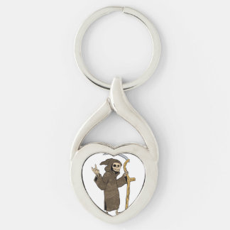 cartoon grim reaper. Silver-Colored twisted heart keychain