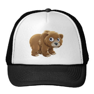 Cartoon Grizzly Bear Animal Character Trucker Hat