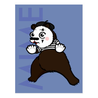 CARTOON GRIZZLY BEAR MIME VERTICAL POSTCARD