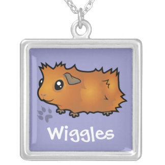 Cartoon Guinea Pig (scruffy) (add your pets name) Silver Plated Necklace