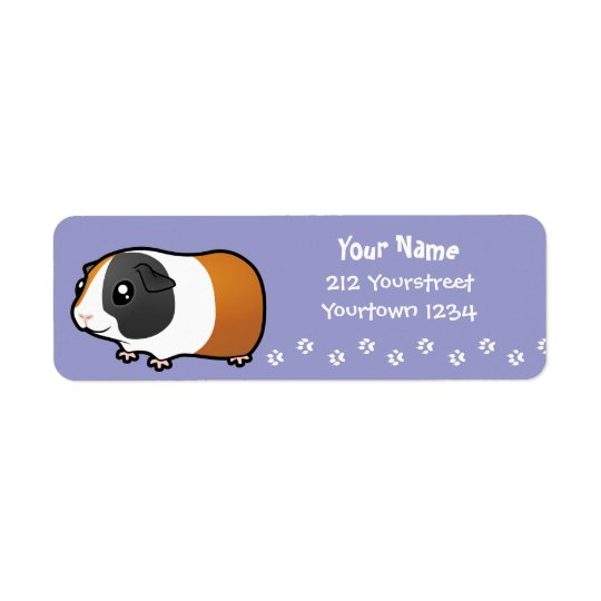 Cartoon Guinea Pig (smooth hair) Return Address Label