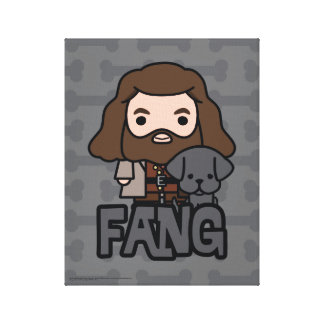 Cartoon Hagrid and Fang Character Art Canvas Print