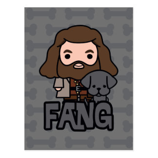Cartoon Hagrid and Fang Character Art Postcard