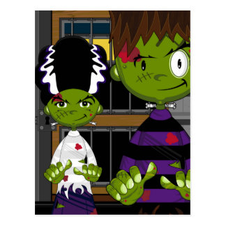 Cartoon Halloween Frankensteins Monster Postcard
