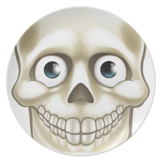 Cartoon Halloween Skull Skeleton Character Dinner Plates
