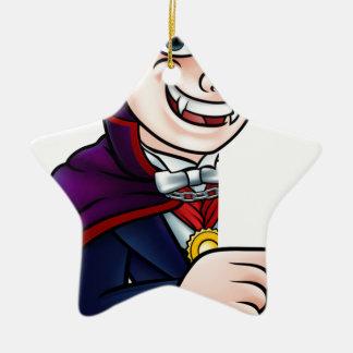 Cartoon Halloween Vampire Pointing at Sign Ceramic Ornament