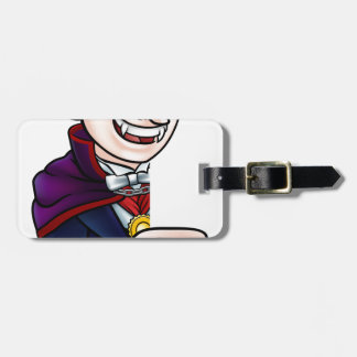 Cartoon Halloween Vampire Pointing at Sign Luggage Tag