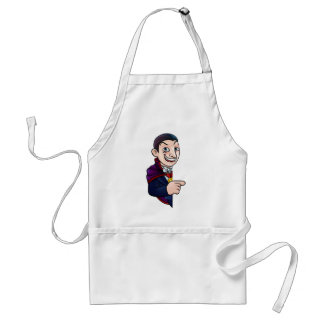 Cartoon Halloween Vampire Pointing at Sign Standard Apron