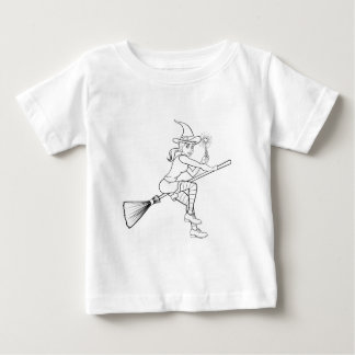Cartoon Halloween Witch and Magic Wand Baby T-Shirt