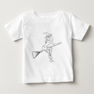 Cartoon Halloween Witch Flying on her Broomstick Baby T-Shirt