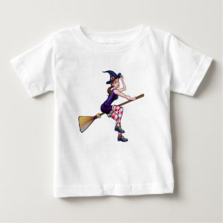 Cartoon Halloween Witch On Broomstick Baby T-Shirt