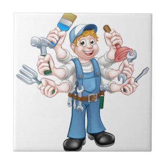 Cartoon Handyman Ceramic Tile