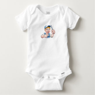 Cartoon Handyman Electrician Holding Screwdriver Baby Onesie