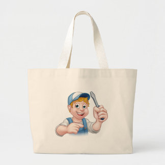 Cartoon Handyman Electrician Holding Screwdriver Large Tote Bag