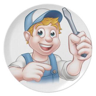 Cartoon Handyman Electrician Holding Screwdriver Party Plate