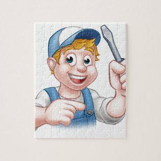 Cartoon Handyman Electrician Holding Screwdriver Puzzles
