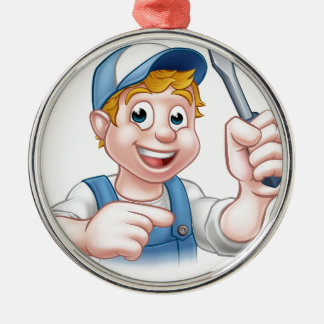 Cartoon Handyman Electrician Holding Screwdriver Silver-Colored Round Ornament