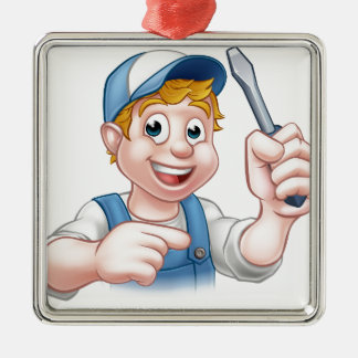Cartoon Handyman Electrician Holding Screwdriver Silver-Colored Square Ornament