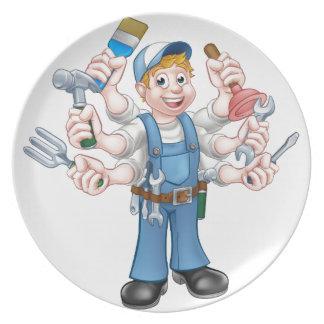 Cartoon Handyman Plates