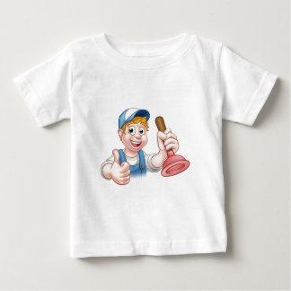 Cartoon Handyman Plumber Holding Plunger Baby T-Shirt