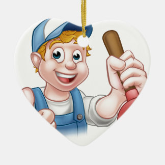 Cartoon Handyman Plumber Holding Plunger Ceramic Heart Ornament
