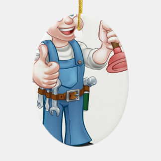 Cartoon Handyman Plumber Holding Plunger Ceramic Oval Ornament