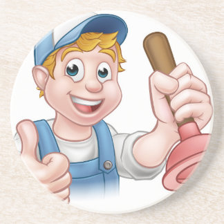 Cartoon Handyman Plumber Holding Plunger Coaster