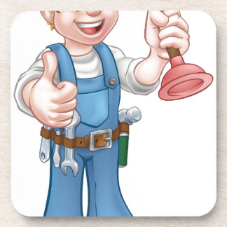 Cartoon Handyman Plumber Holding Plunger Coasters