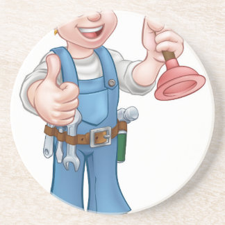 Cartoon Handyman Plumber Holding Plunger Drink Coasters