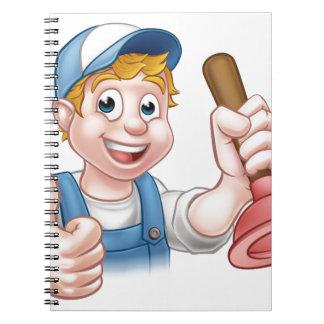 Cartoon Handyman Plumber Holding Plunger Notebook
