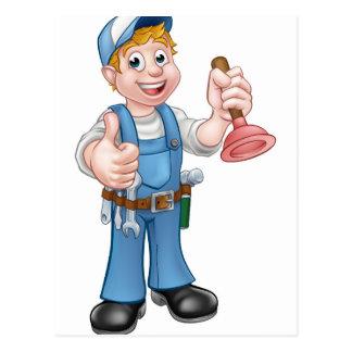 Cartoon Handyman Plumber Holding Plunger Postcard