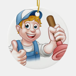 Cartoon Handyman Plumber Holding Plunger Round Ceramic Ornament