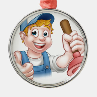 Cartoon Handyman Plumber Holding Plunger Silver-Colored Round Ornament