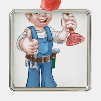 Cartoon Handyman Plumber Holding Plunger Silver-Colored Square Ornament
