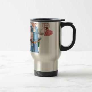 Cartoon Handyman Plumber Holding Plunger Travel Mug