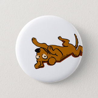 Cartoon happy dog is lying down 2 inch round button
