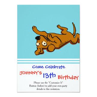 Cartoon happy dog is lying down card