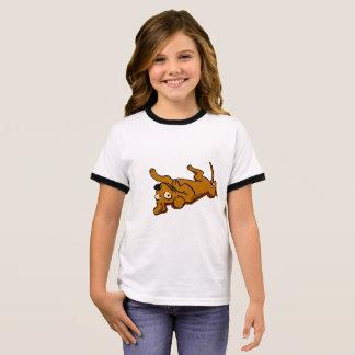 Cartoon happy dog is lying down ringer T-Shirt