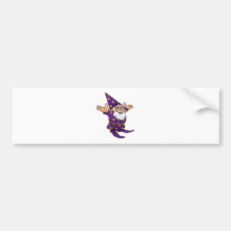 Cartoon Happy Wizard Bumper Sticker