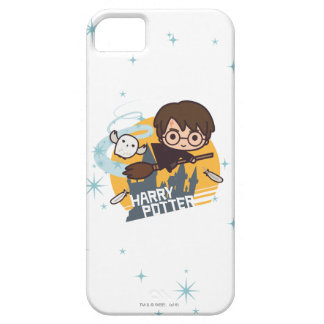 Cartoon Harry and Hedwig Flying Past Hogwarts iPhone 5 Cases
