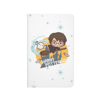 Cartoon Harry and Hedwig Flying Past Hogwarts Journals